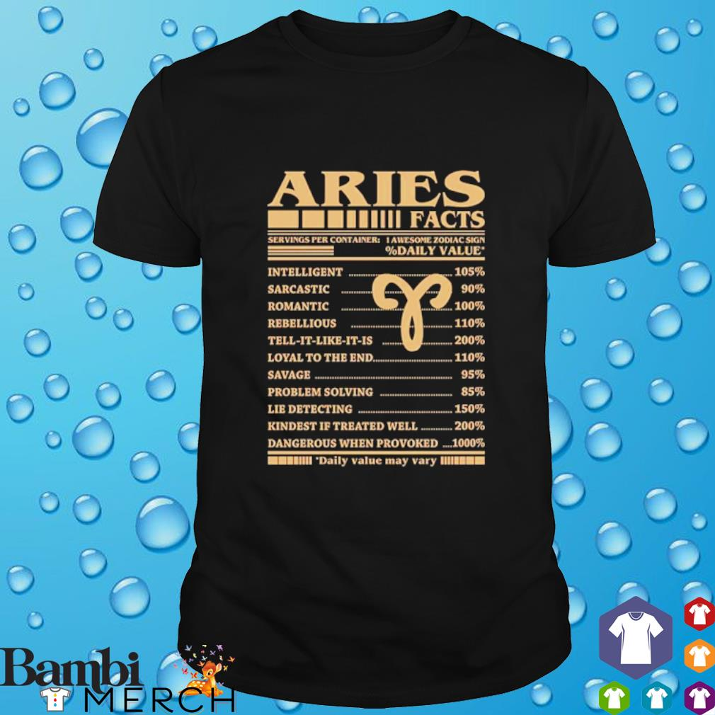Aries facts servings per container daily value may vary shirt