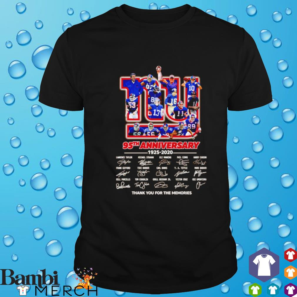New York Giants 95th Anniversary 1925 2020 signature thank you for the memories shirt