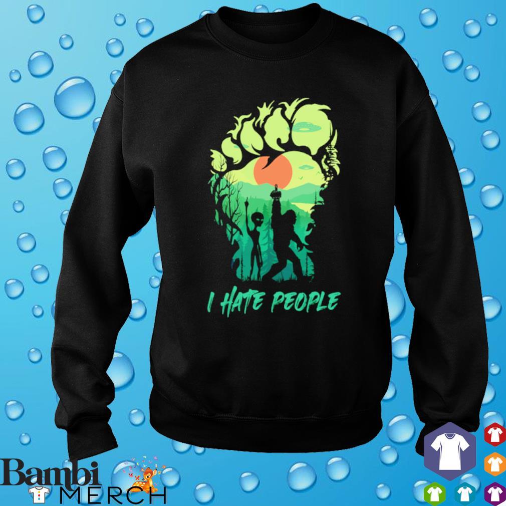 Bigfoot alien middle finger green I hate people s sweater