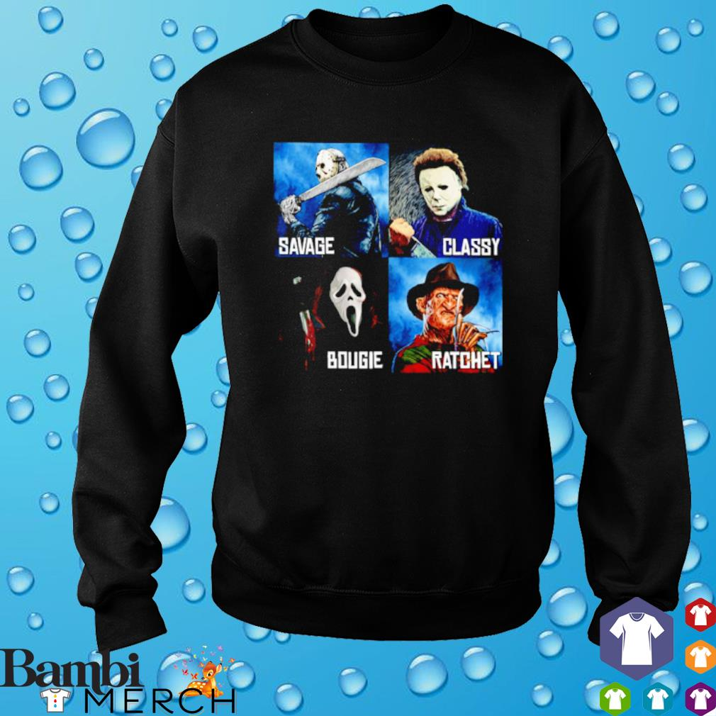Horror characters Savage Classy Bougie Ratchet s sweater