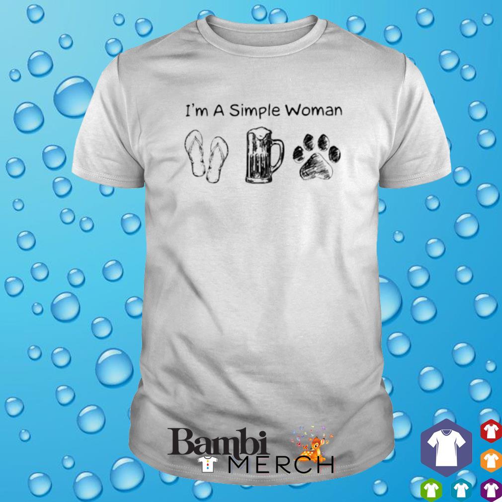 I'm a simple woman I like Flip Flop Beer Dog Paw shirt
