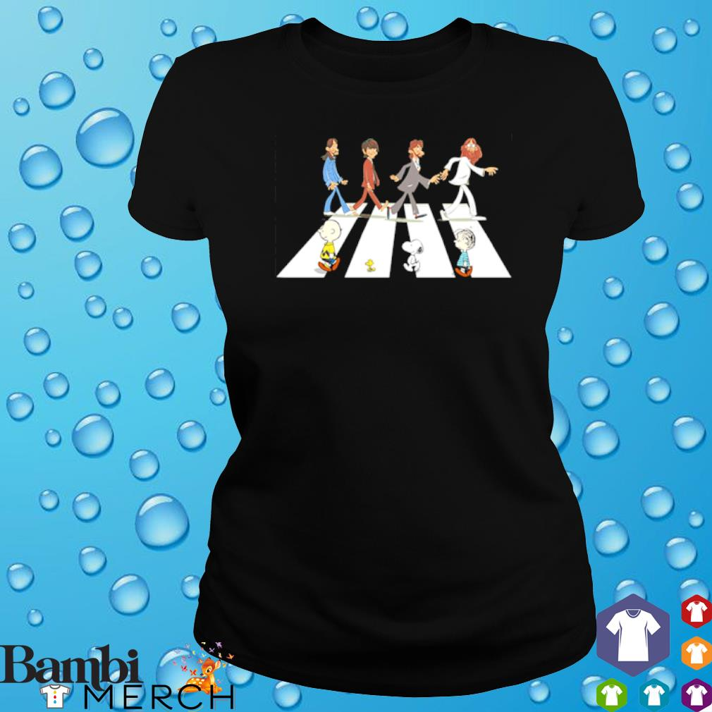 Peanuts and The Beatles abbey road s ladies tee