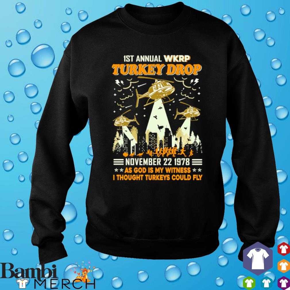 1st annual WKRP Turkey drop November 22 1978 as God is my witness s sweater