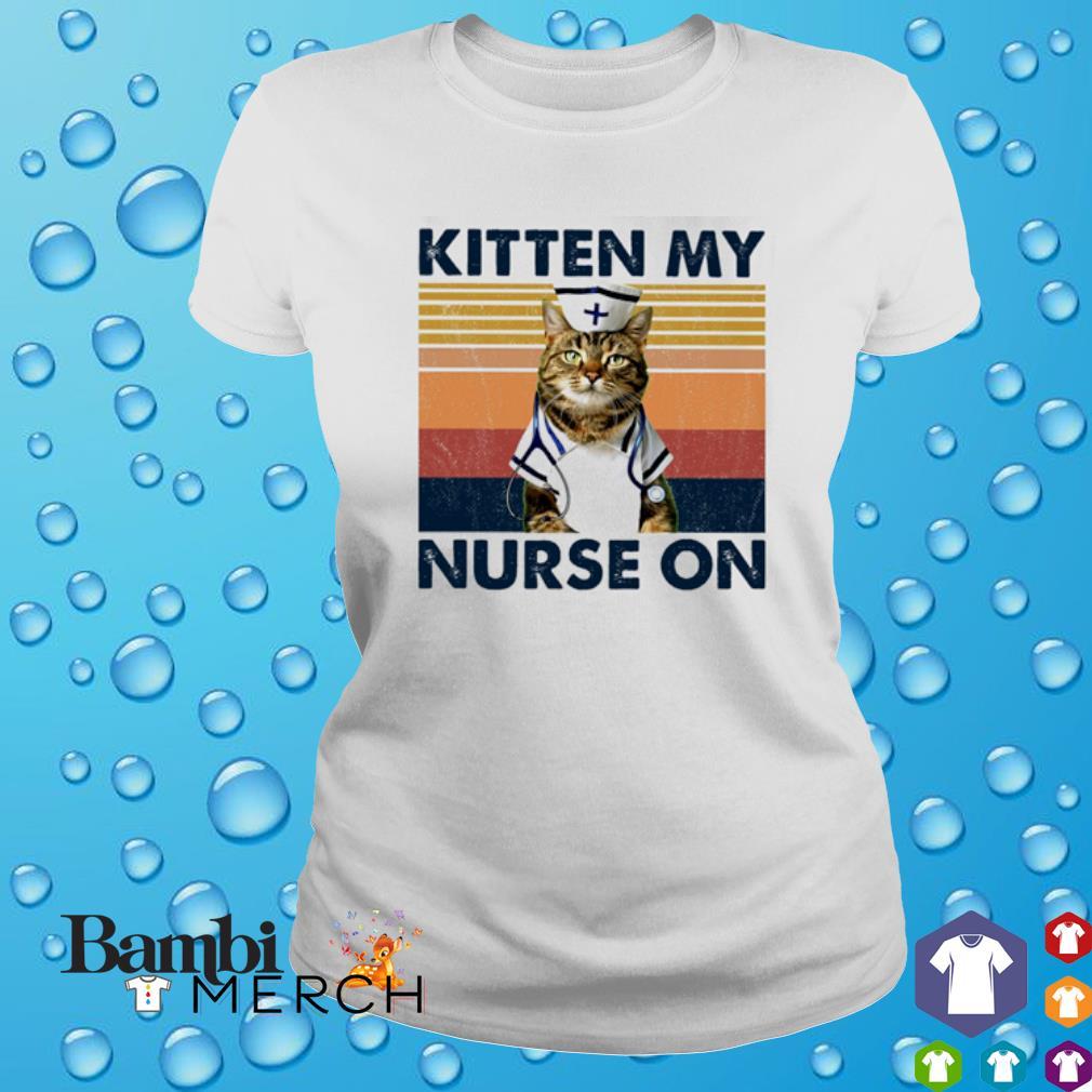 Cat kitten my Nurse on vintage s ladies tee