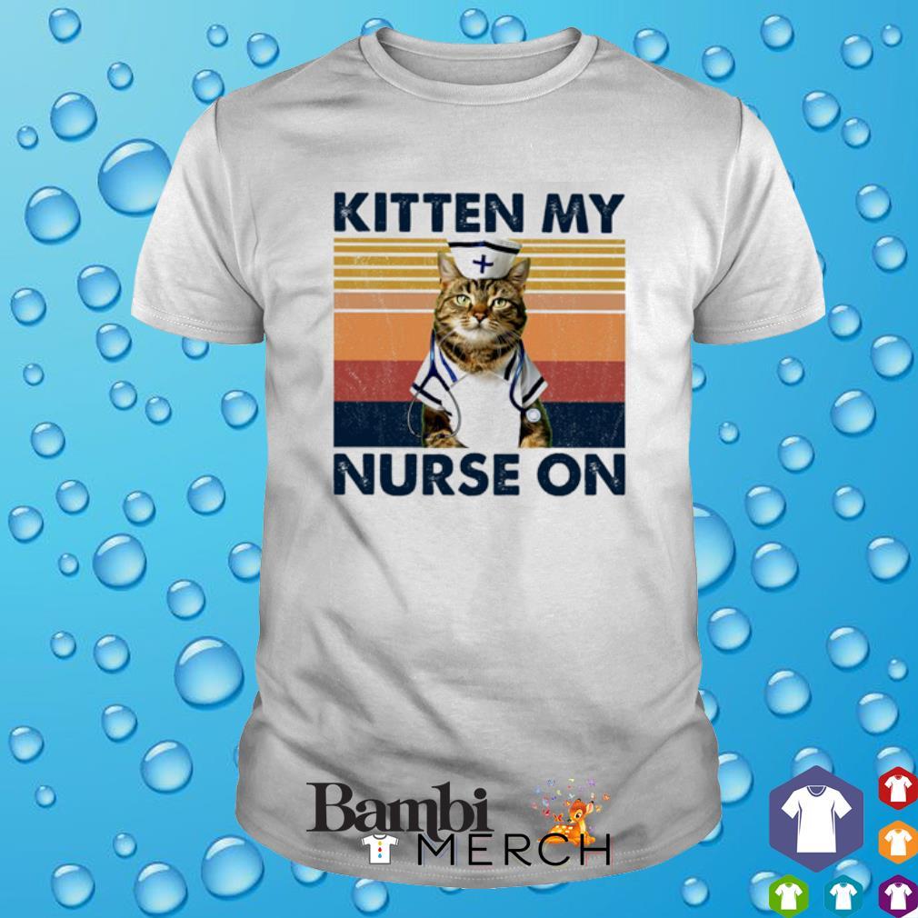 Cat kitten my Nurse on vintage shirt