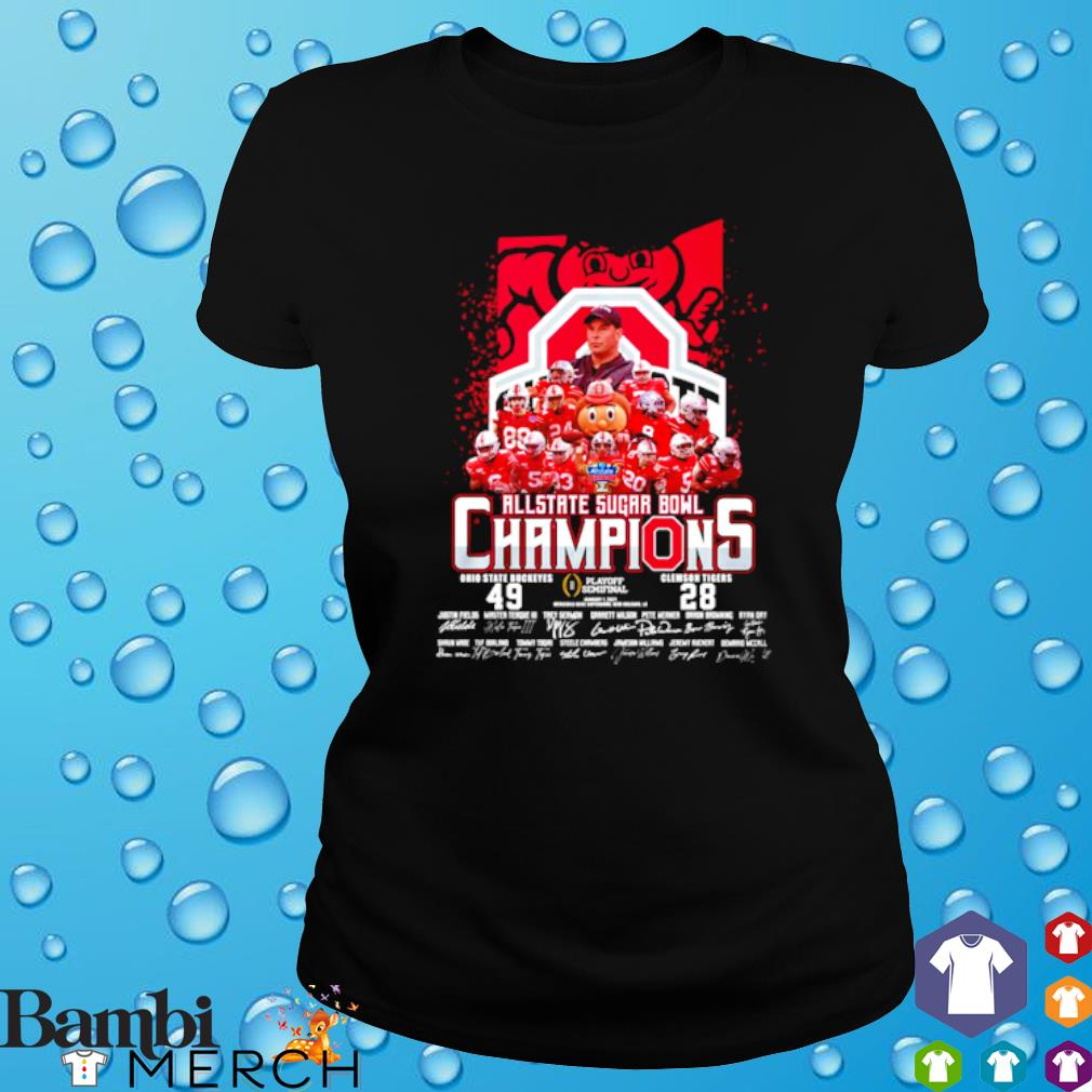 All state sugar bowl champions Ohio State Buckeyes vs Clemson Tigers s ladies tee